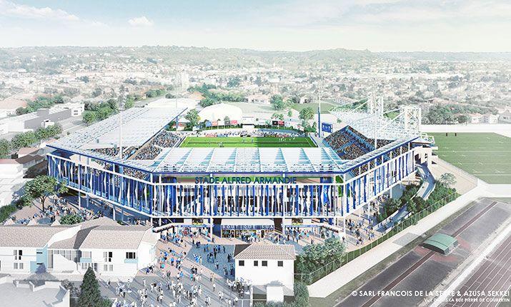 Vue du futur stade Armandie depuis la rue Pierre de Coubertin