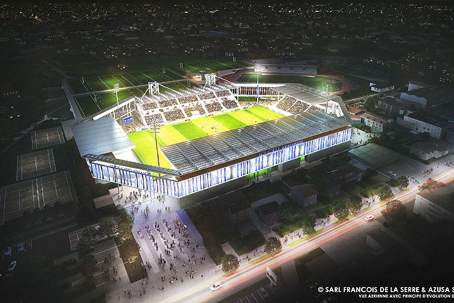 Vue aérienne du futur stade Armandie avec principe d'évolution